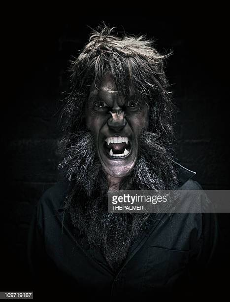 werewolf man portrait - monster fictional character stock pictures, royalty-free photos & images