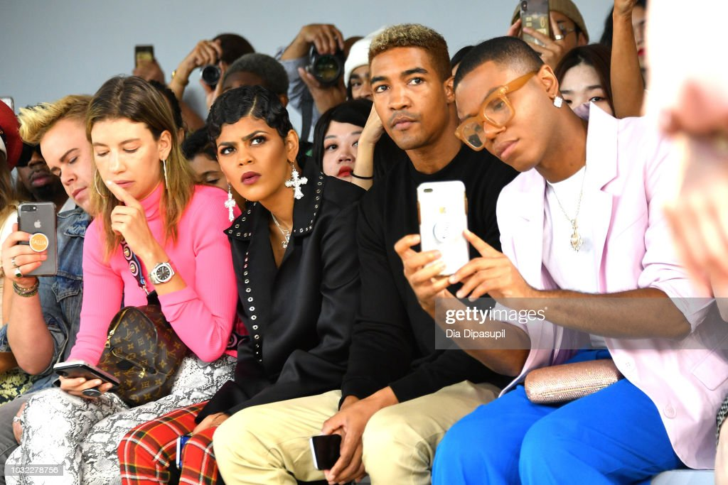 Werner Andrew, (3rd) Toni Romiti and Wendell Lissimore attend the Marcel Ostertag front Row during New York Fashion Week: The Shows at Gallery II at Spring Studios on September 12, 2018 in New York City.