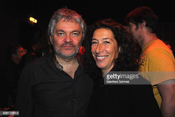 Werner Brix and Adele Neuhauser pose for a photograph during the DVDReleaseParty of Werner Brix at WUK on October 29 2014 in Vienna Austria