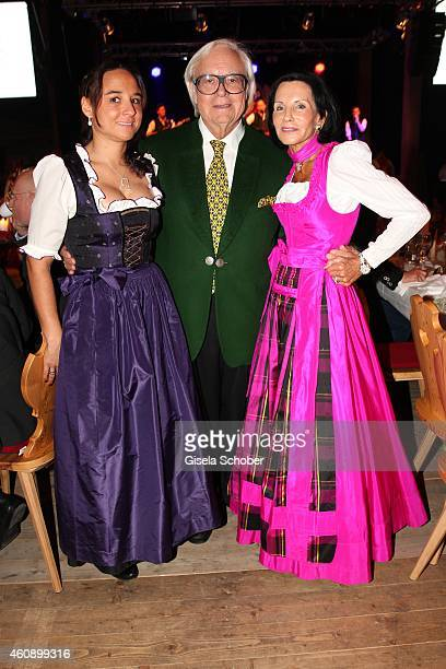 Werner Brombach and his wife Christine and his daughter Claudia during the 75th birthday party of Werner Brombach on December 29, 2014 in Erding,...