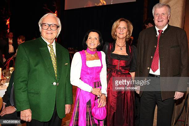 Werner Brombach and his wife Christine, Karin Seehofer and husband Horst Seehofer during the 75th birthday party of Werner Brombach on December 29,...
