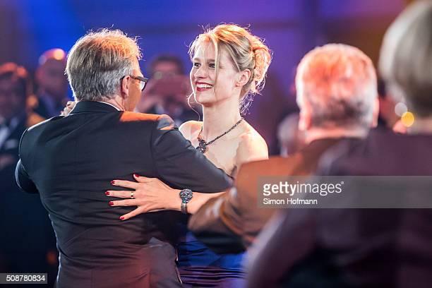 Werner E Klatten dances with Britta Heidemann during the German Sports Gala 'Ball des Sports 2016' on February 6 2016 in Wiesbaden Germany