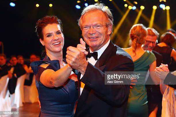 Werner E Klatten dances with Katarina Witt during the 'Ball des Sports 2013' at RheinMainHallen on February 2 2013 in Wiesbaden Germany