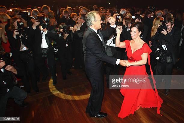 Werner E Klatten head of the Deutsche Sporthilfe dances with Katarina Witt during the 20011 Sports Gala 'Ball des Sports' at the RheinMain Hall on...