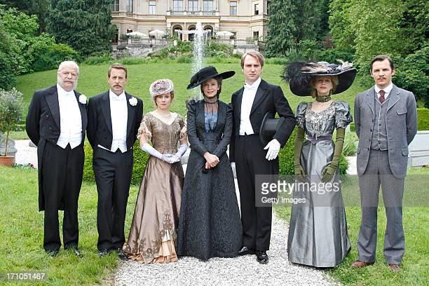 Werner Haindl Heino Ferch Eva Loebau Iris Berben Lars Eidinger Petra Schmidt Schaller Felix Klare attend the photocall of 'Der Clan Die Geschichte...