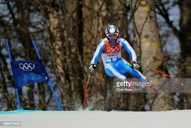 Werner Heel of Italy skis during the Alpine Skiing Men's SuperG on day 9 of the Sochi 2014 Winter Olympics at Rosa Khutor Alpine Center on February...