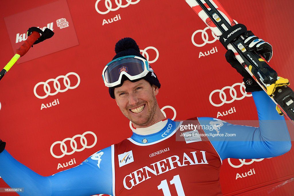 Werner Heel of Italy takes 3rd place during the Audi FIS Alpine Ski World Cup Men's SuperG on March 3, 2013 in Kvitfjell, Norway.
