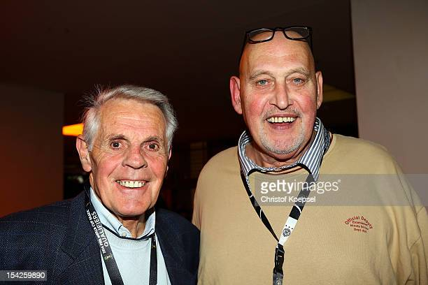 Werner Heine and Volkmar Gross pose during the Club of former national players meeting at Olympiastadion on October 16 2012 in Berlin Germany