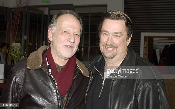 Werner Herzog and Geoffrey Gilmore during 2005 Sundance Film Festival Alfred P Sloan Foundation Reception at Kimball Arts Center in Park City Utah...