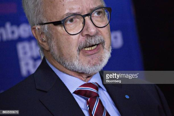 Werner Hoyer president of the European Investment Bank speaks during a Bloomberg Television interview at the International Monetary Fund and World...