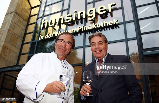 Werner Hunsinger chef of Restaurant 'Hunsinger in der Neuen Pinakothek' and museum director Reinhold Baumstark pose during the restaurant opening on...