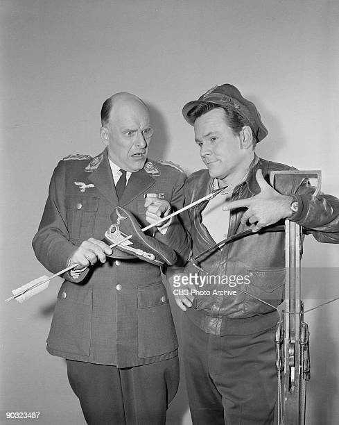 HEROES Werner Klemperer as Col Wilhelm Klink left and Bob Crane as Col Robert E Hogan in The Assasin an episode from the CBS television comedy series...