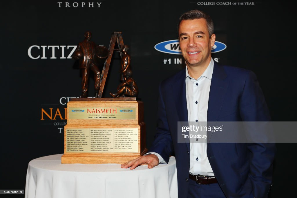 Werner Ladder Naismith Men's College Coach of the Year Tony Bennett of the Virginia Cavaliers poses with the 2018 Werner Ladder Naismith Men's College Coach of the Year trophy during the 2018 Naismith Awards Brunch at the Pearl Stable on April 1, 2018 in San Antonio, Texas.