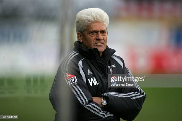 Werner Lorant, headcoach of Unterhaching reacts during the Second Bundesliga match between Wacker Burghausen and SpVgg Unterhaching at the...