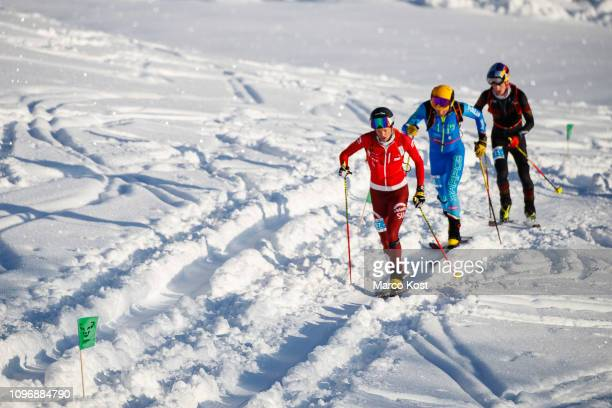 Werner Marti of Switzerland leading the course in front of Michele Boscacci of Italy and Anton Palzer of Germany during the first ascent the ISMF Ski...