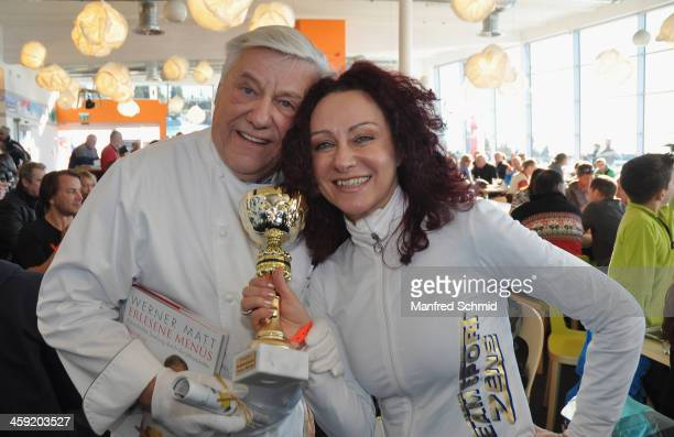 Werner Matt and Christina Lugner pose for a photograph during the Stuhleck skiopening VIP ski race on December 13 2013 in Murzzuschlag Austria