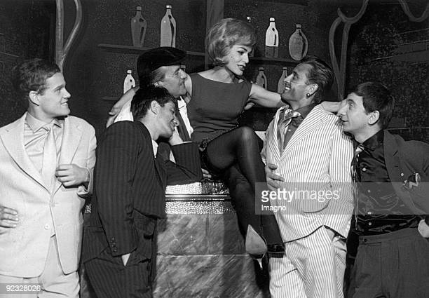 Werner Pochath Heinz Petters Curt Eilers Margit Saad Adolf Wessely and Peter Matic in the musical Irma la Douce Theater in der Josefstadt Photograph...