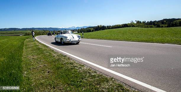 Werner Reifferscheidt drives a Porsche 356 SC Convertible 1964 model during the 5th Bodensee Klassik rallye at Festspielhaus on May 5 2016 in Bregenz...