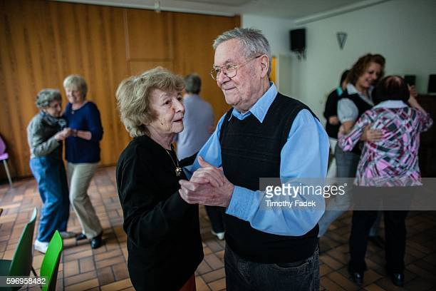 Werner Schultz 83 and Susanna Ruute 85 dance to a waltz Elderly germans who have Alzheimer's disease dance to waltz foxtrot and other ballroom music...