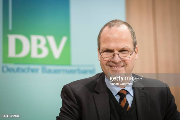 Werner Schwarz Vice President of the The German Farmers Association is pictured during a press conference on January 12 2018 in Berlin Germany