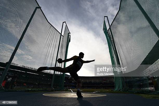 Werner Visser of South Africa in action during the Boys Discus Throw Final on day four of the IAAF World Youth Championships Cali 2015 on July 18...
