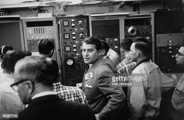 Wernher Von Braun during jupiter launching in blockhouse at Cape Canaveral