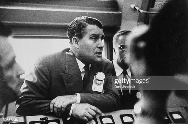 Wernher Von Braun during Jupiter launching in blockhouse