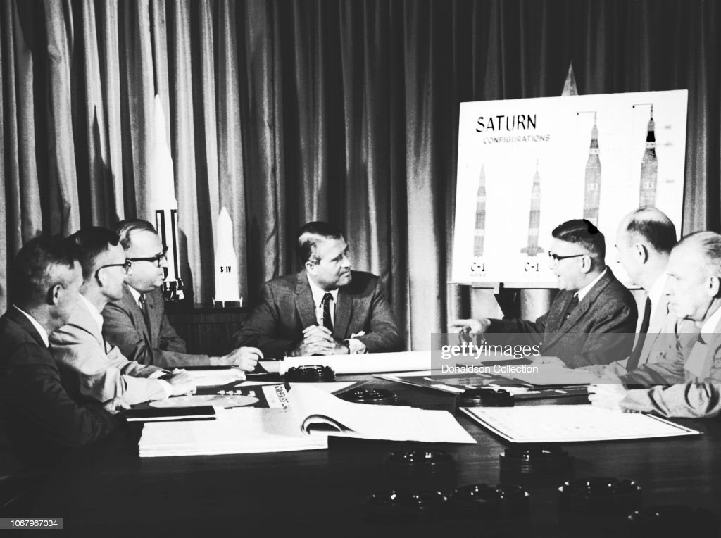 Operation Paperclip Scientists Working on Saturn Rocket : News Photo