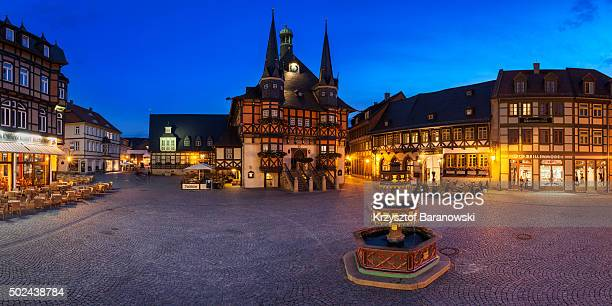 wernigerode market place panorama - saxony anhalt stock pictures, royalty-free photos & images