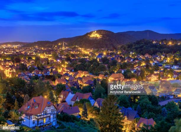 wernigerode panorama blue - saxony anhalt stock pictures, royalty-free photos & images