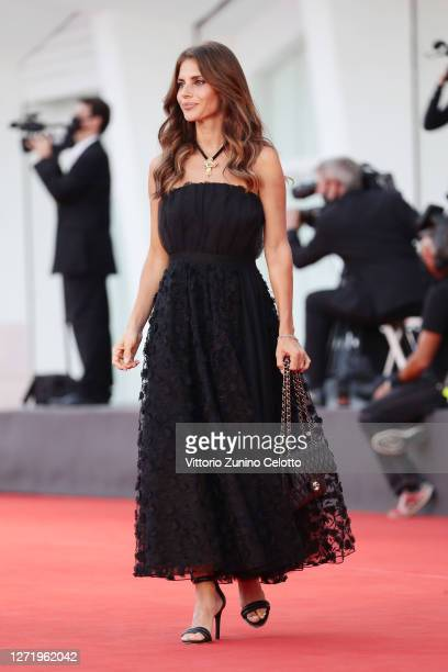 """Weronika Rosati walks the red carpet ahead of the movie """"Nomadland"""" at the 77th Venice Film Festival on September 11, 2020 in Venice, Italy."""