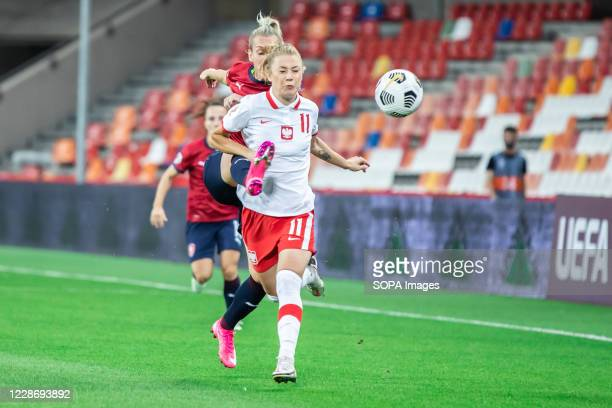 Weronika Zawistowska of Poland and Petra Bertholdova of Czech Republic are seen in action during the UEFA Women's EURO 2021 qualifying match between...