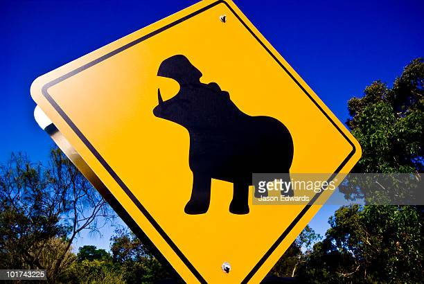 A colorful yellow road sign warns of danger from Nile Hippopotamus.