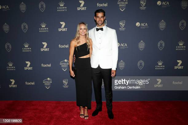 Wes Agar and partner Emma De Broughe arrive ahead of the 2020 Cricket Australia Awards at Crown Palladium on February 10 2020 in Melbourne Australia