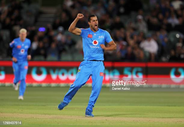 Wes Agar of the Adelaide Strikers celebrates after taking a wicket during the Big Bash League match between the Perth Scorchers and the Adelaide...
