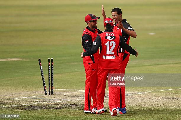 Wes Agar of the Redbacks celebrates with Alex Ross and Callum Ferguson after dismissing Cameron Bancroft of the Warriors during the Matador BBQs One...