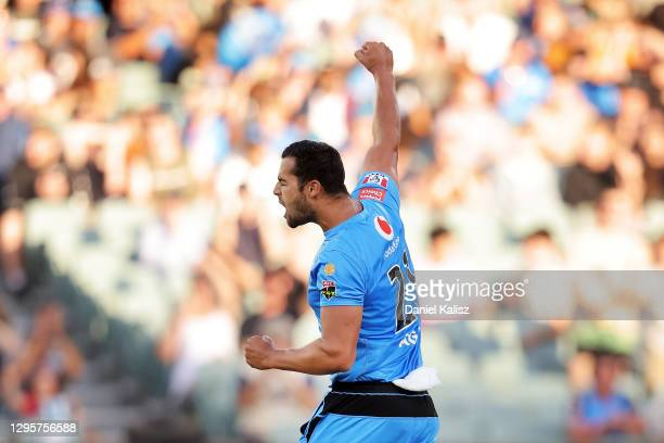Wes Agar of the Strikers celebrates after dismissing Marcus Stoinis of the Stars during the Big Bash League match between the Adelaide Strikers and...
