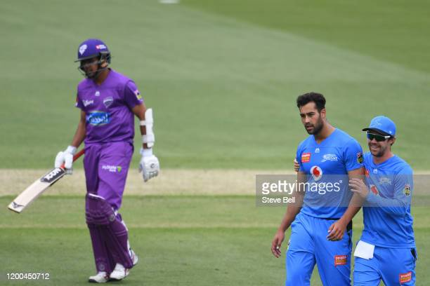 Wes Agar of the Strikers celebrates the wicket of Clive Rose of the Hurricanes during the Big Bash League match between the Hobart Hurricanes and the...