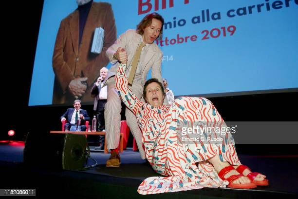 Wes Anderson and Frances McDormand attend the masterclass during the 14th Rome Film Festival on October 19 2019 in Rome Italy