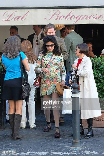Wes Anderson is seen with his girlfriend Juman Malouf who is pregnant at lunch during the 10th Rome Film Fest on October 17 2015 in Rome Italy
