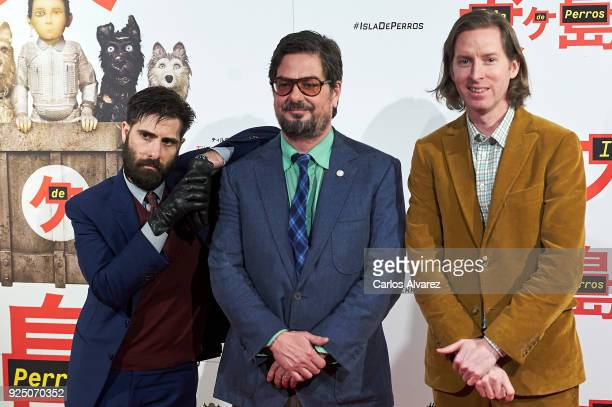Wes Anderson Jason Schwartman and Roman Coppola attend 'Isla de Perros' premiere at the Dore cinema on February 27 2018 in Madrid Spain