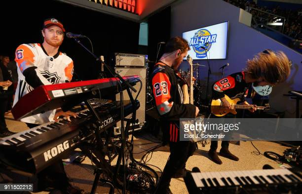 Wes Bailey Tommy Putnam and Trevor Terndrup of the band Moon Taxi perform during the 2018 Honda NHL AllStar Game at Amalie Arena on January 28 2018...