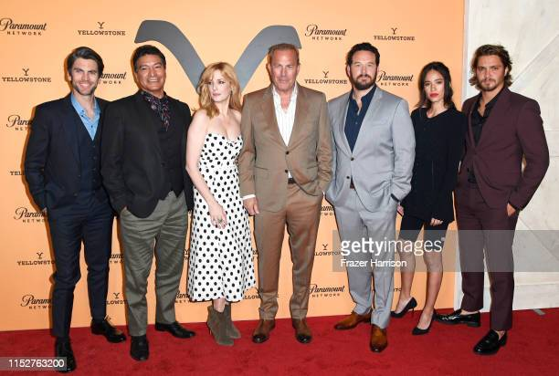 Wes Bentley Gil Birmingham Kelly Reilly Kevin Costner Cole Hauser Kelsey Chow and Luke Grimes attend Paramount Network's Yellowstone Season 2...
