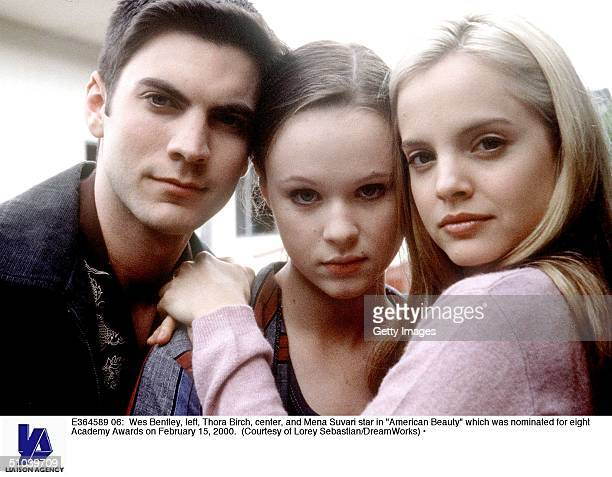 Wes Bentley Left Thora Birch Center And Mena Suvari Star In 'American Beauty' Which Was Nominated For Eight Academy Awards On February 15 2000
