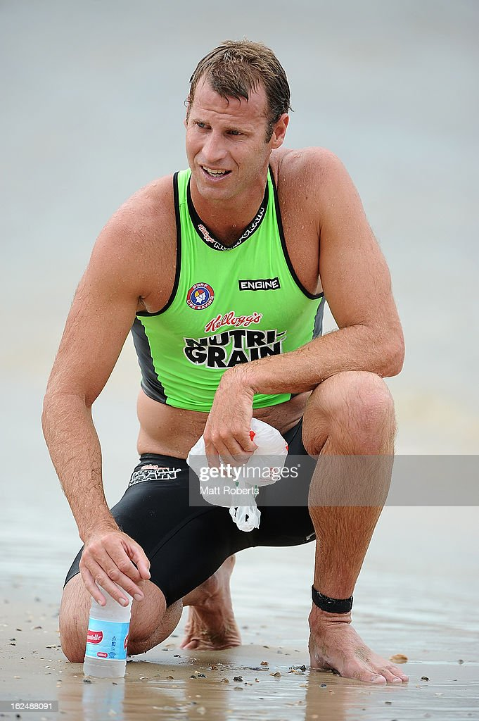 Wes Berg takes a breather between races during the Noosa Heads round of the 2012-13 Kelloggs Nutri-Grain Ironman Series on February 24, 2013 in Noosa, Australia.