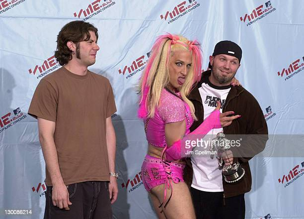 Wes Borland and Fred Durst of Limp Bizkit with Andy Dick