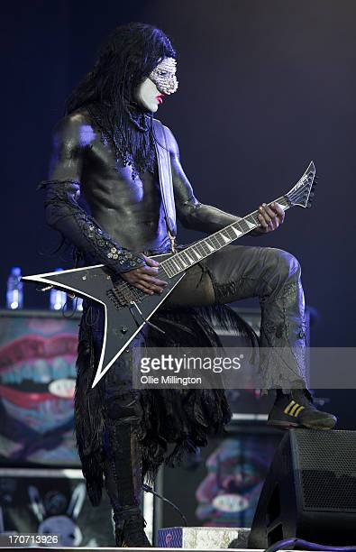 Wes Borland of Limp Bizkit performs a headline show at Day 3 of The Download Festival at Donnington Park on June 16 2013 in Donnington England