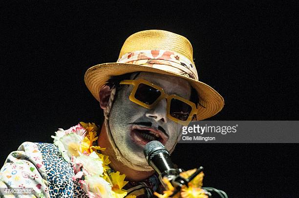 Wes Borland of Limp Bizkit performs on stage during the last date of the Kerrang Tour at Brixton Academy on February 21 2014 in London United Kingdom