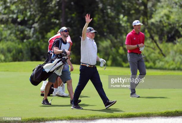 Wes Bradshaw and Kyle Reifers walk down the fairway on the 12th hole during the second round of the BMW Charity Pro-Am presented by Synnex...