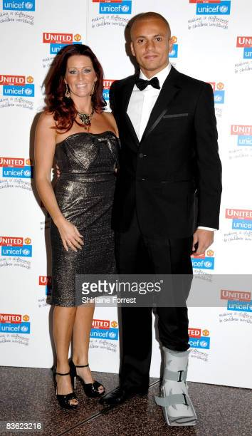 Wes Brown and wife Leane Brown attend the Manchester United `United for UNICEF' Gala Dinner at Manchester United Museum on November 9 2008 in...